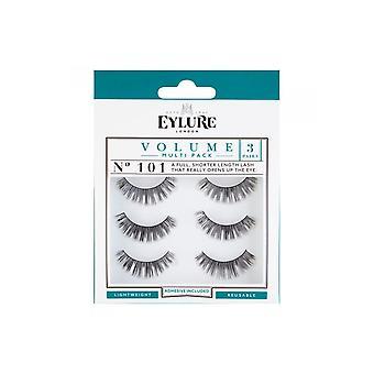 Eylure Volume No 101 Reusable Full Shorter Eyelashes Pack Of 3 (adhesive Included)
