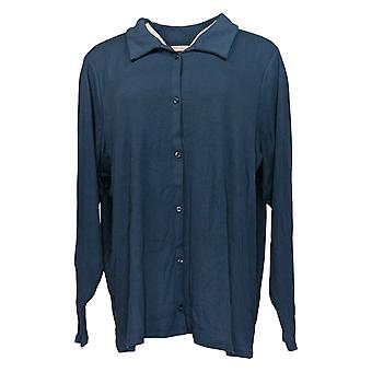 N'importe qui femmes's Top Cozy Knit Collared Button Up Long Sleeve Blue A367698