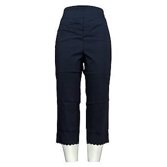 Nina Leonard Women's Pants Pull-On Scallop-Hem Cropped Blue 660-168