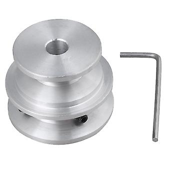 Silver Aluminum Dual 2-Step Pulley 40x30x8MM for Motor Shalf Drive Belt
