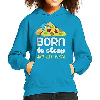 Care Bears Bedtime Bear Born To Sleep And Eat Pizza Kid's Hooded Sweatshirt