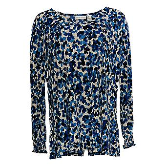 Susan Graver Women's Top V-Neck Tunic W/ Smocked Sleeves Blue A370944