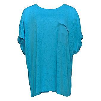 DG2 par Diane Gilman Women-apos;s Plus Blue Pocket Short Sleeve 723-680
