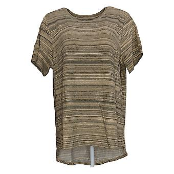 Lisa Rinna Collection Women's Top Space Dyed Short-Sleeve Brown A368160