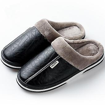 Men-women Zimní vnitřní vodotěsné teplé domácí kožené pantofle boty.