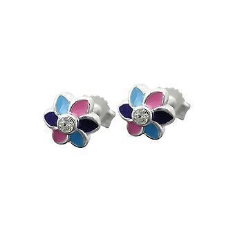 Earrings Flower Multicolor Silver 925