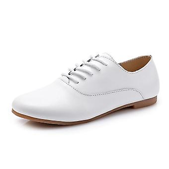 Women Flat Fashion Genuine Leather Lace Up Casual Oxfords Shoes