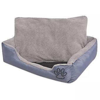 سرير الكلب مع وسادة مبطنة حجم L الرمادي