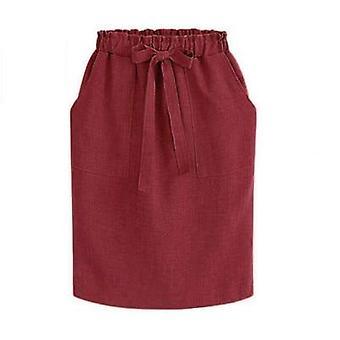 夏の秋エレガントな女性&アポス;sオフィスペンシルコットン弾性ウエストミディスカート