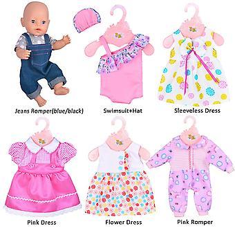 Ebuddy 6 sets poppenkleding outfits voor 14 tot 16 inch pasgeboren baby poppen en voor 18 inch Amerikaanse gi