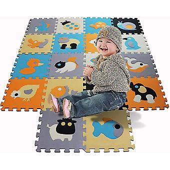 Probus Children Soft EVA Foam Kids Play Mat with Sensory Animal Jigsaw Puzzle 18 Piece