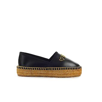 LOVE MOSCHINO BLACK NAPPA LEATHER ESPADRILLES