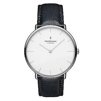 Nordgreen Unisex Native Leather Silver 40mm Watch NR40SILEBLXX