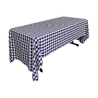 La Leinen Polyester Gingham kariert 60 von 144-Zoll rechteckige Tischdecke, weiß und Königsblau