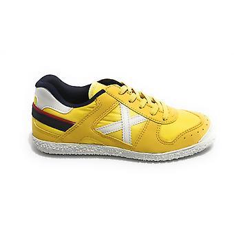 Scarpe Bambino Munich Sneaker Con Lacci Mini Goal In Suede/ Tessuto Giallo Zs21mu02 1508