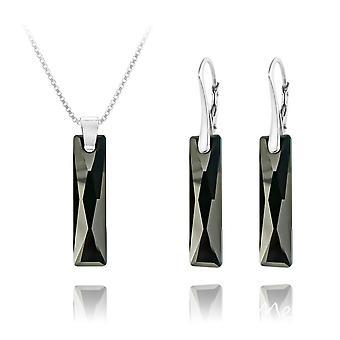 Jet black luxury  silver pendant necklace jewellery set