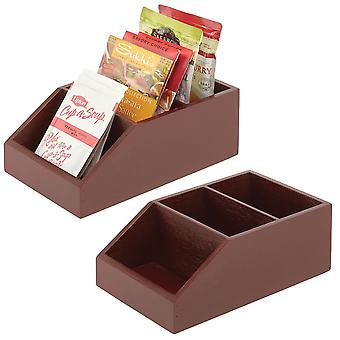 mDesign Bamboo Wood Kitchen Pantry Food Storage Divided Bin - 2 Pack