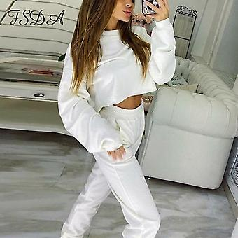 Women Set Casual Long Sleeve Crop Top And Pants Trousers Two Piece