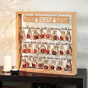 Personalised Christmas Advent Calendar - Wooden