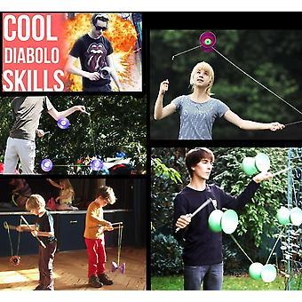 Jester Profi Diabolo Set (8 Designs) mit Diabolo Alu Handstbe und Diaboloschnur + Erfahren Diabolo