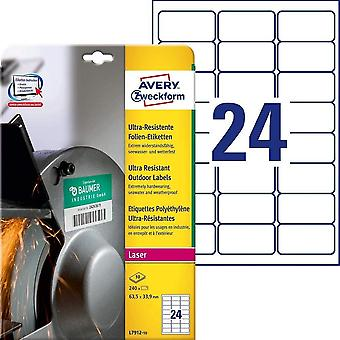Wokex L7912-10 Strapazierfhige Folienetiketten (63,5x33,9 mm auf DIN A4, extrem stark selbstklebend,