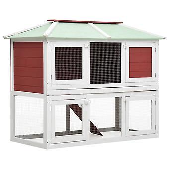 vidaXL Small animal/rabbit barn 2 floors red wood