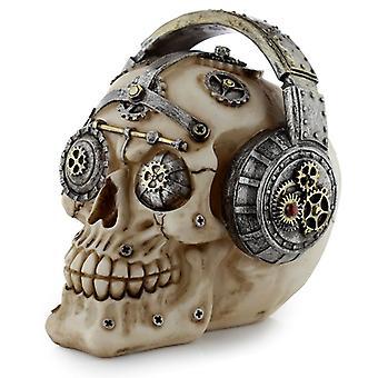 Puckator Steampunk Skull -koriste kuulokkeilla