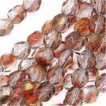 Czech Fire Polished Glass Beads 4mm Round 1/2 Coat Luster Crystal/Rose (50)