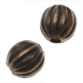Vintaj Natural Brass, Round Fluted Melon Beads 6.3mm, 8 Pieces