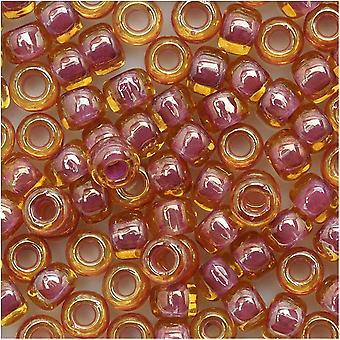 Toho Round Seed Beads 6/0 960 'Lt Topaz/Pink Lined' 8 Gram Tube
