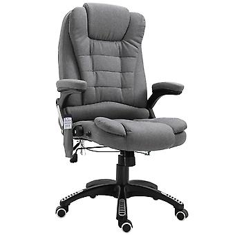 Vinsetto Massage Office Chair 130° Recliner Ergonomic Gaming Seven Point Heated Home Office Padded  Linen Fabric & Swivel Base Grey