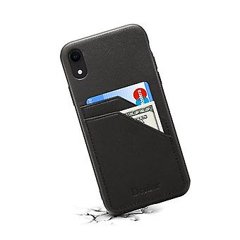 Genuine leather wallet case card slot for iphone xr black no4710