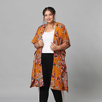 Multi Colour Floral Print Bohemian Look Long Kimono in Camel Size up to 20