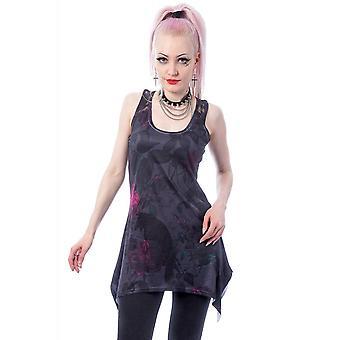 Chemical Black Crow Rose Lace Panel Vest