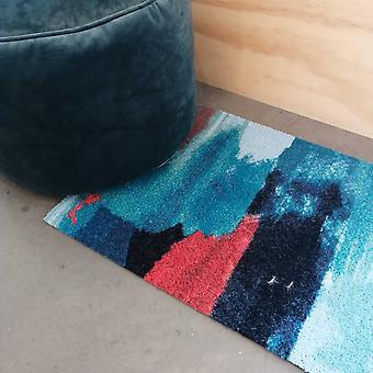 Smith Abstract Washable Floor Mats In Aqua Blue
