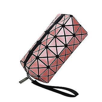 Geometriska lysande plånböcker för kvinnor, holografisk reflekterande kosmetisk väska (rosa)