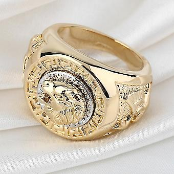 Mode Hommes 19mm Noble Band Ring Cool Lion Head 18k Yellow Gold Plad