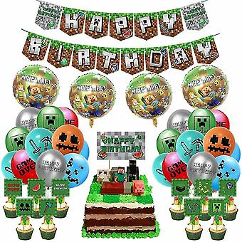 Giochi per feste Pixel Stile Compleanno Party Forniture Gioco Party Includono Pixel Game Happy Birthday Banner Cake Cosplay Gift