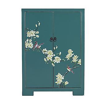 Fine Asianliving kinesiske kabinet Teal håndmalede blomster W80xD35xH99cm