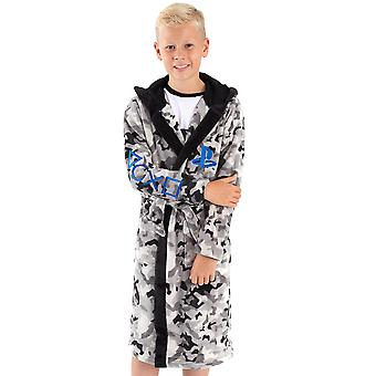 PlayStation dressing kjole for gutter og jenter | barn camo monokrom spillkontroller lomme badekåpe | Barnas Myke Fluffy Nattøy Kappe