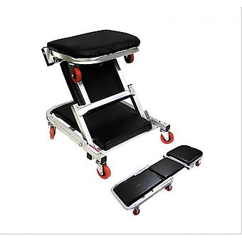 """41"""" 2 In 1 Foldable Mechanics Z Creeper Seat Rolling Chair Garage Work Stool New"""