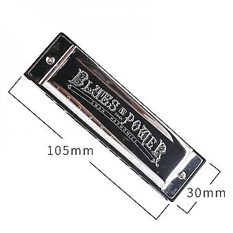 Diatonic Harmonica 10 Holes Blues Harp Mouth Organ Key Of C Reed Instrument With Case Big Style Silver