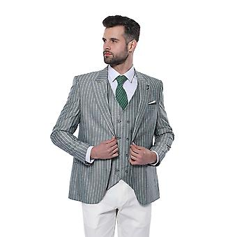 Green striped suit