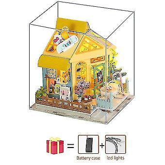 Dollhouse accessories sakura tree pink diy dollhouse wooden miniature furniture doll house maison model building kits casa