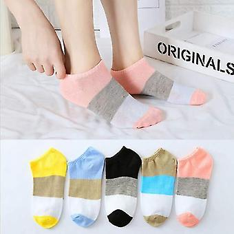 5 Pairs set of cotton summer spring socks, themed(Solid Style 3)