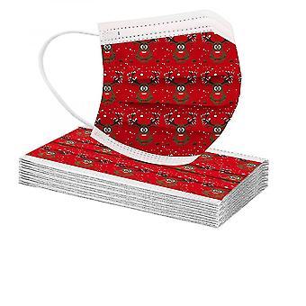 10pcs Frohe Weihnachten Erwachsene Multi-Prints Atmungsaktive 3-Lagen Einwegmaske