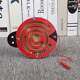 Brinquedos infantis Jogo de quebra-cabeça de labirinto de caneta magnética de madeira para estimular o cérebro-(joaninha)