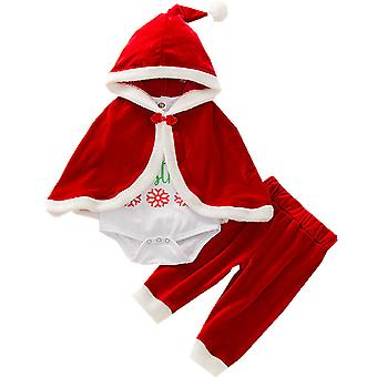 Toddler Baby Girl Christmas Outfit Xmas Clothes Cloak Romper Pants Set