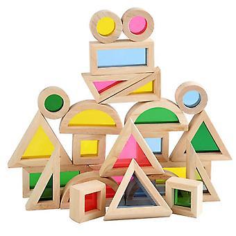 子供のための色付きアクリルボード木製教育玩具付き24pcs/セット万華鏡のビルディングブロック