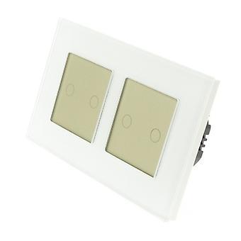 Я LumoS белые светодиодные способ удаленного & диммер сенсорного стекла Двойная рамка 4 Gang 1 переключатель золота Вставка